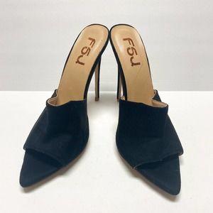FSJ Slide Open Toe Stiletto High Heel Slip On Pump